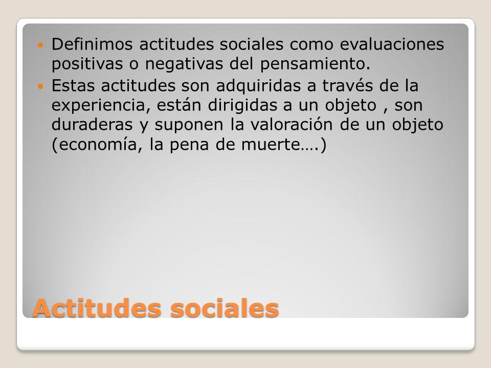 Definimos actitudes sociales como evaluaciones positivas o negativas del pensamiento.