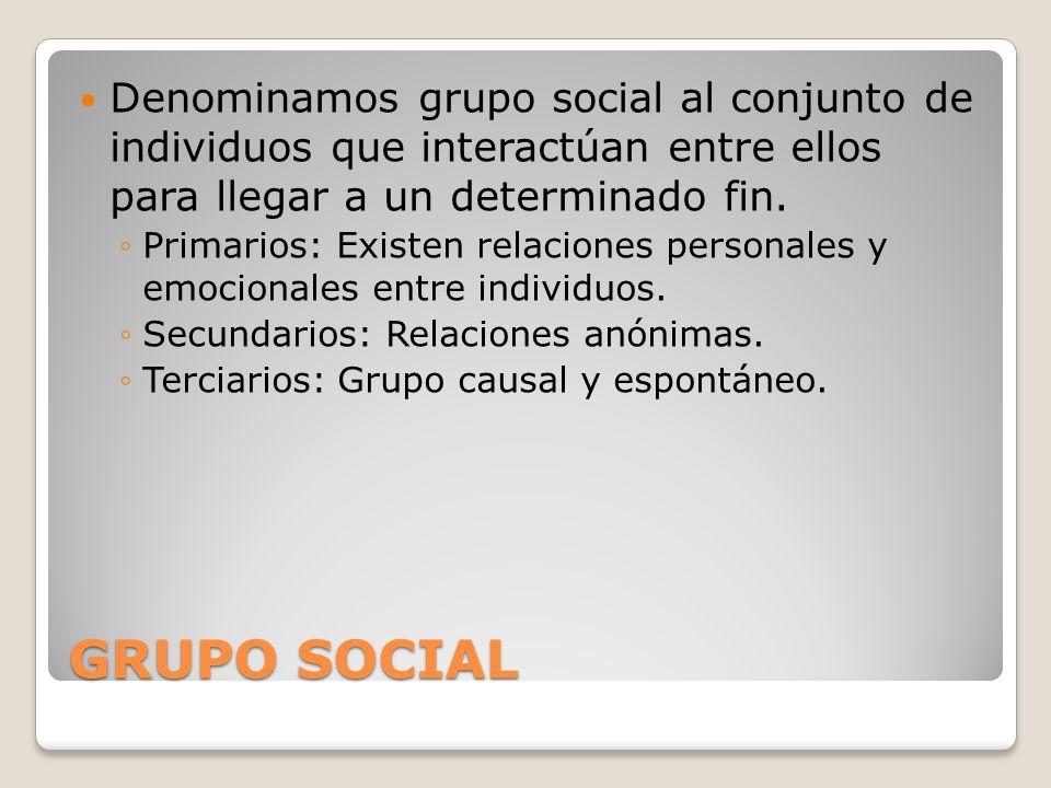 Denominamos grupo social al conjunto de individuos que interactúan entre ellos para llegar a un determinado fin.