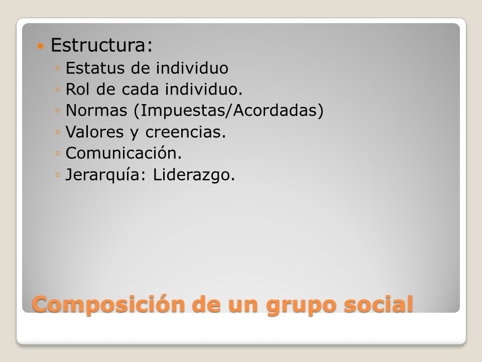 Composición de un grupo social