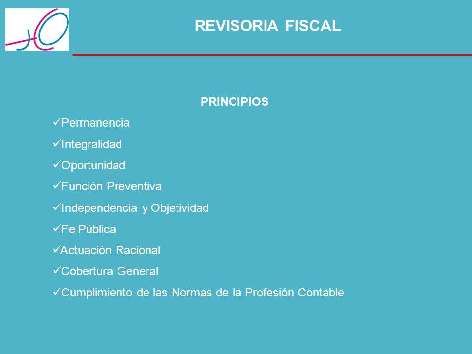 REVISORIA FISCAL PRINCIPIOS Permanencia Integralidad Oportunidad