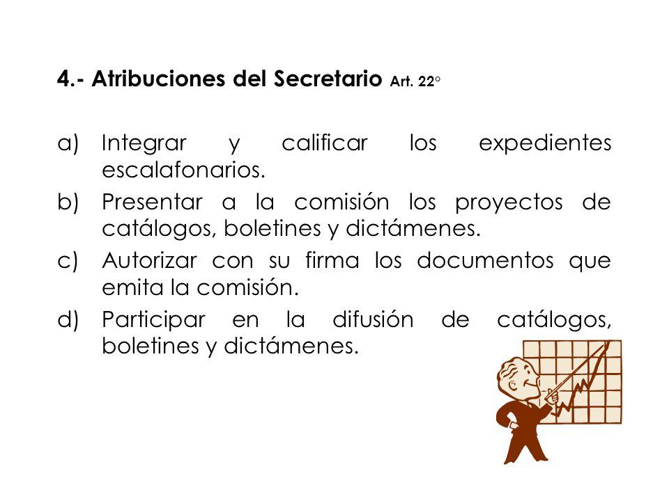 4.- Atribuciones del Secretario Art. 22°