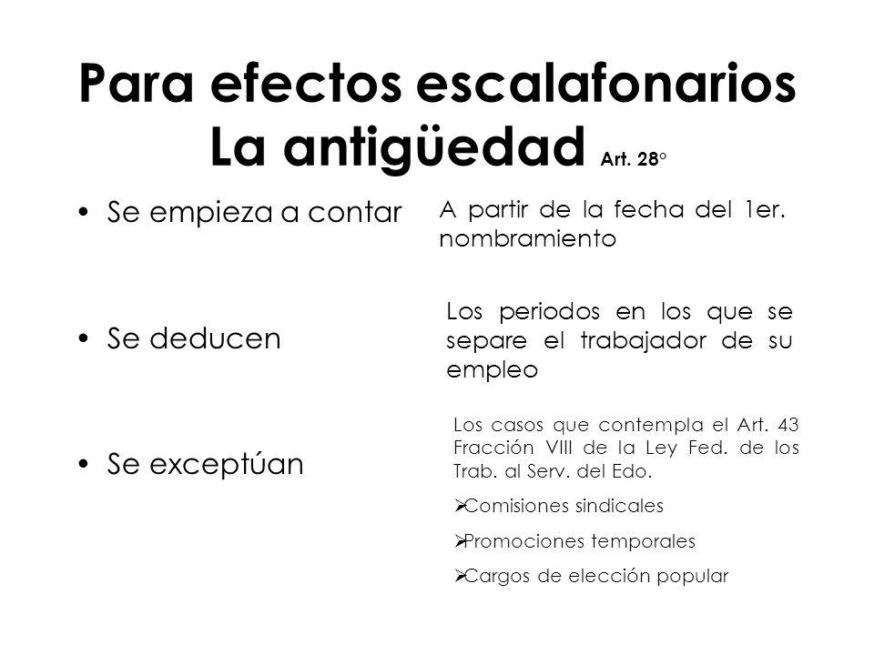 Para efectos escalafonarios La antigüedad Art. 28°