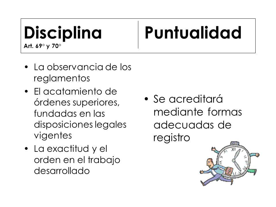 Disciplina Puntualidad Art. 69° y 70°