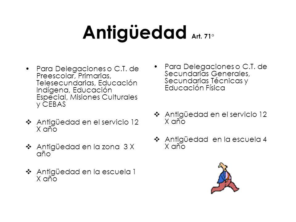 Antigüedad Art. 71° Para Delegaciones o C.T. de Secundarias Generales, Secundarias Técnicas y Educación Física.