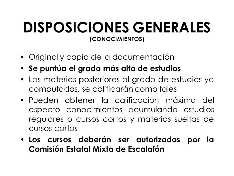 DISPOSICIONES GENERALES (CONOCIMIENTOS)