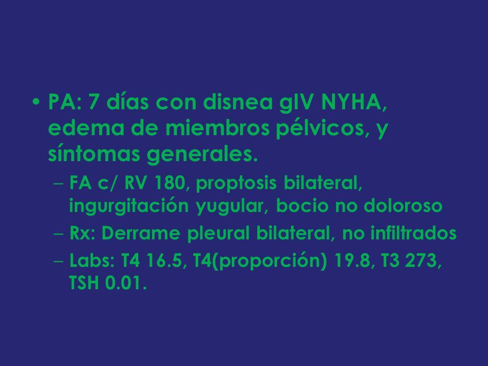 PA: 7 días con disnea gIV NYHA, edema de miembros pélvicos, y síntomas generales.
