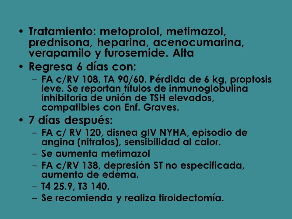 Tratamiento: metoprolol, metimazol, prednisona, heparina, acenocumarina, verapamilo y furosemide. Alta