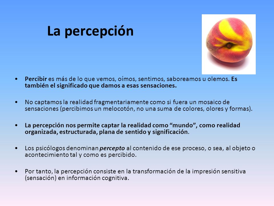 La percepción Percibir es más de lo que vemos, oímos, sentimos, saboreamos u olemos. Es también el significado que damos a esas sensaciones.