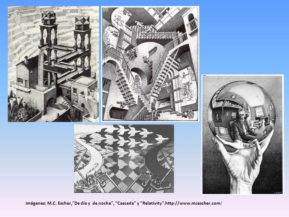 Imágenes: M. C. Escher, De día y de noche , Cascada y Relativity