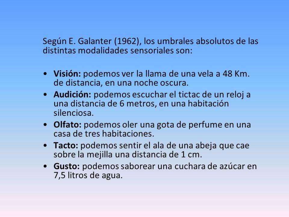 Según E. Galanter (1962), los umbrales absolutos de las distintas modalidades sensoriales son: