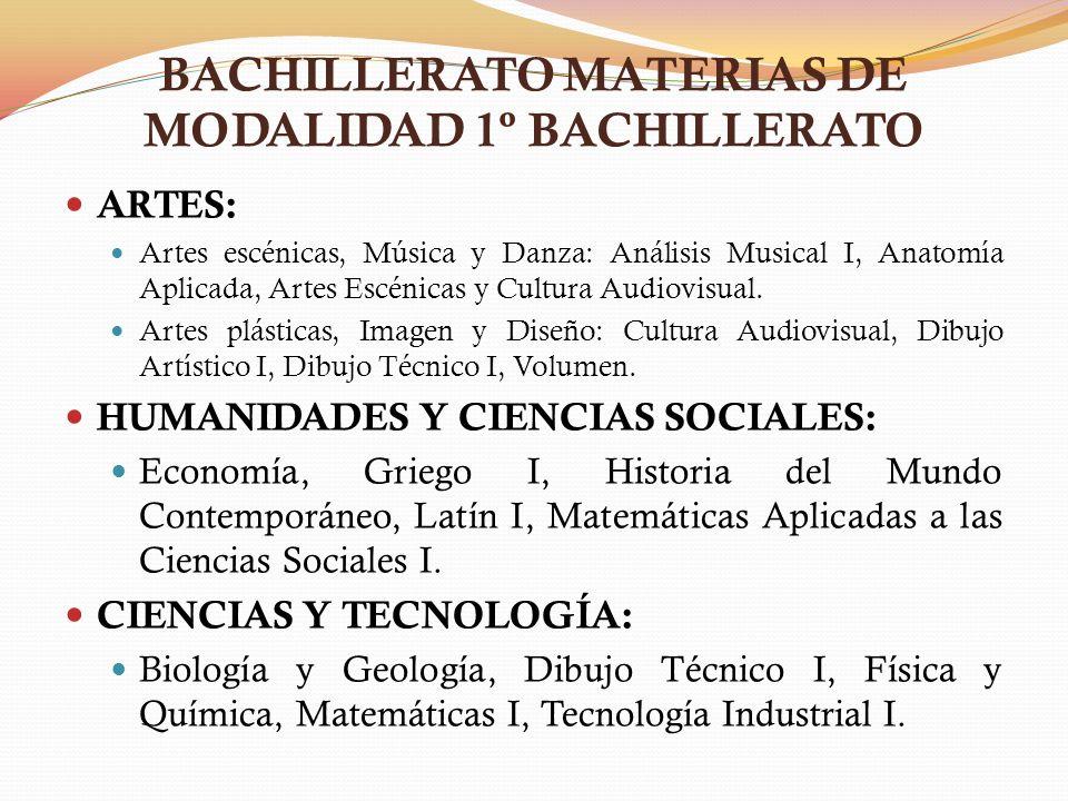 BACHILLERATO MATERIAS DE MODALIDAD 1º BACHILLERATO