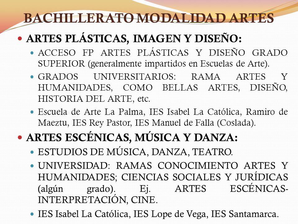 BACHILLERATO MODALIDAD ARTES