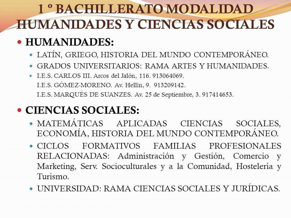 1 º BACHILLERATO MODALIDAD HUMANIDADES Y CIENCIAS SOCIALES