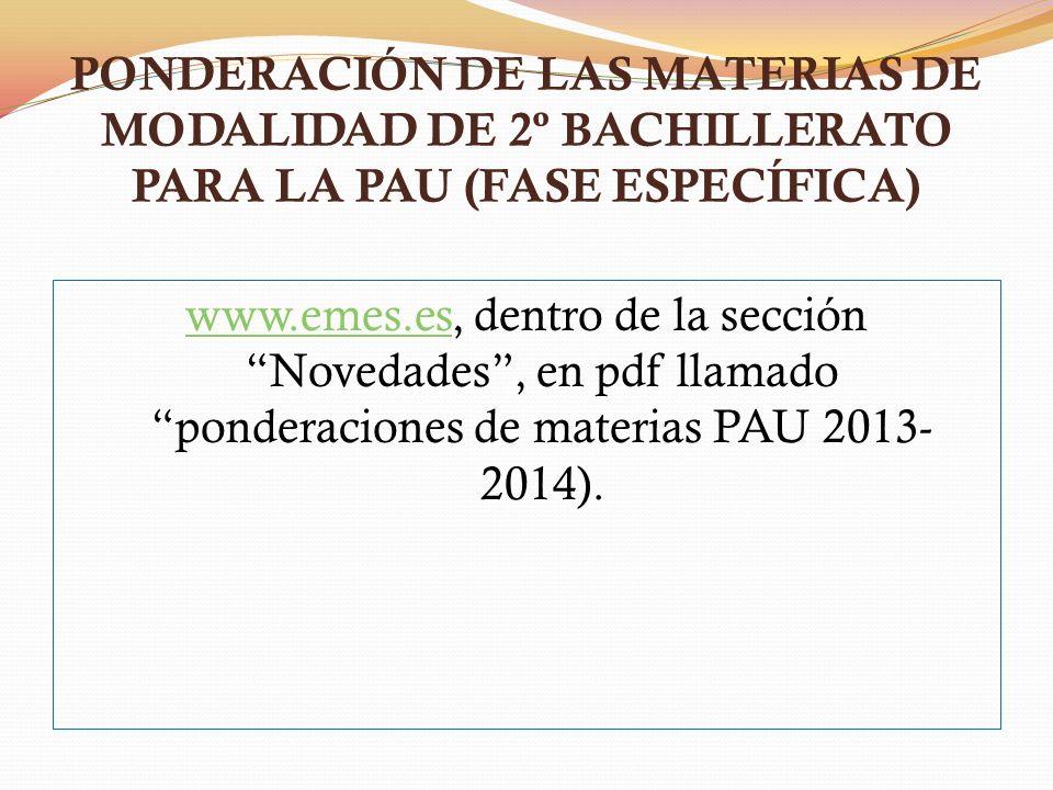 PONDERACIÓN DE LAS MATERIAS DE MODALIDAD DE 2º BACHILLERATO PARA LA PAU (FASE ESPECÍFICA)