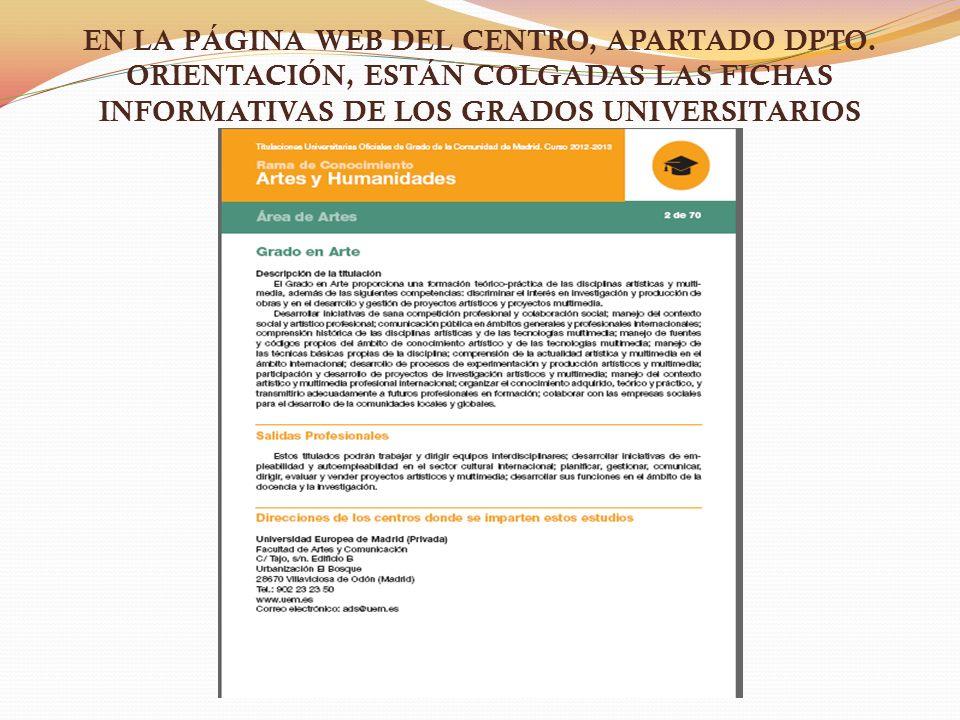 EN LA PÁGINA WEB DEL CENTRO, APARTADO DPTO