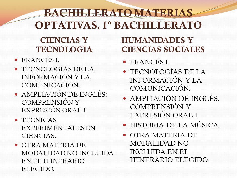 BACHILLERATO MATERIAS OPTATIVAS. 1º BACHILLERATO