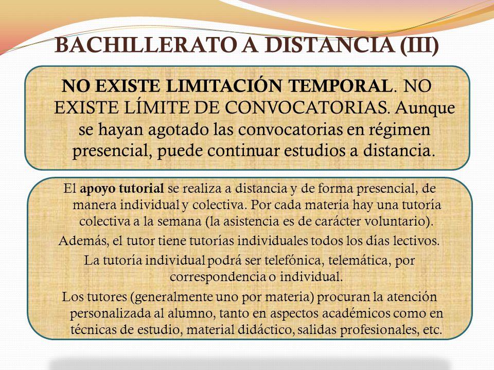 BACHILLERATO A DISTANCIA (III)