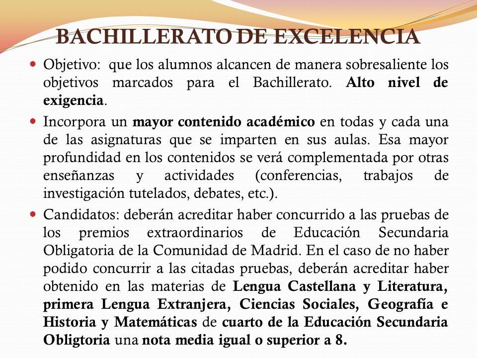 BACHILLERATO DE EXCELENCIA