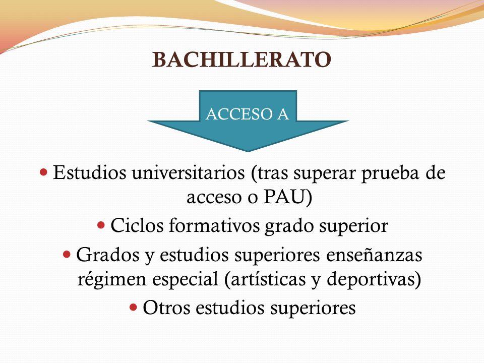 BACHILLERATO ACCESO A. Estudios universitarios (tras superar prueba de acceso o PAU) Ciclos formativos grado superior.