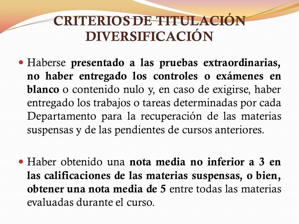 CRITERIOS DE TITULACIÓN DIVERSIFICACIÓN