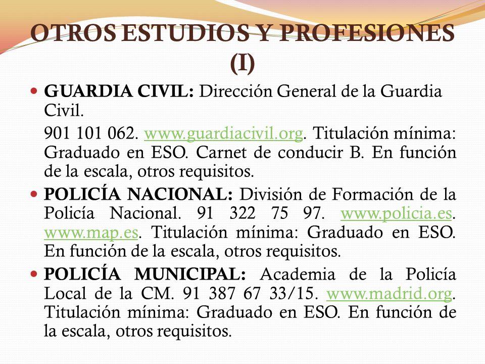 OTROS ESTUDIOS Y PROFESIONES (I)