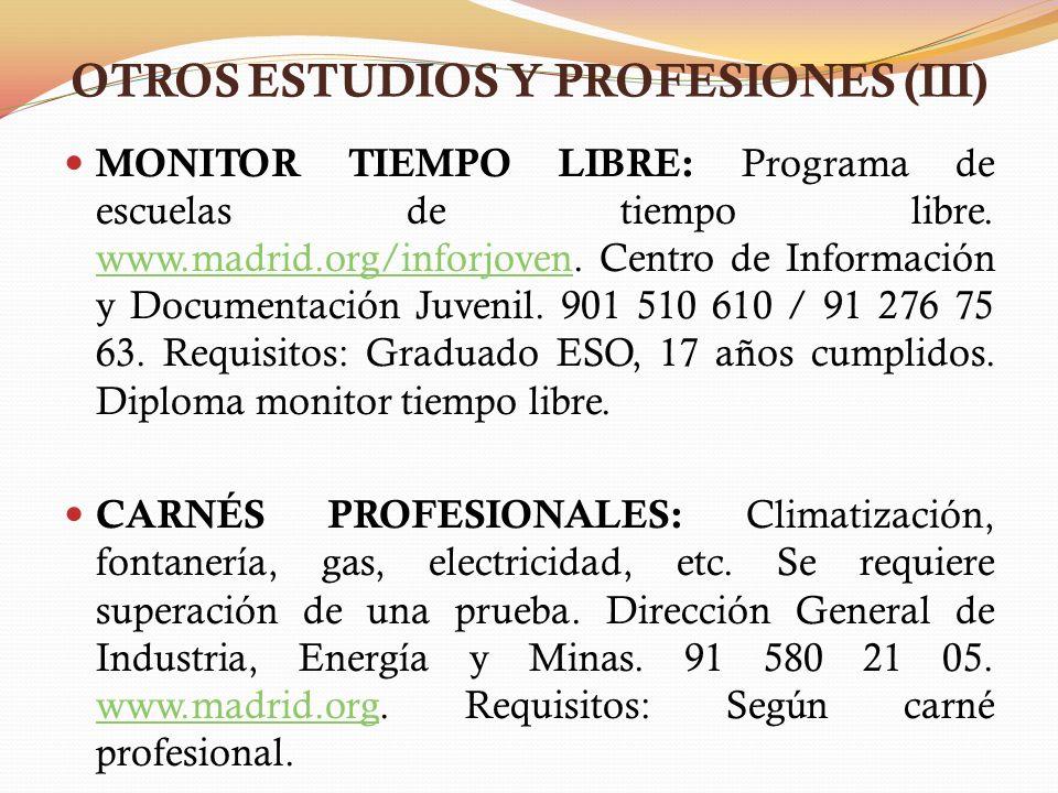 OTROS ESTUDIOS Y PROFESIONES (III)