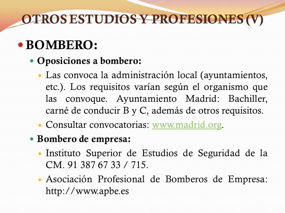 OTROS ESTUDIOS Y PROFESIONES (V)