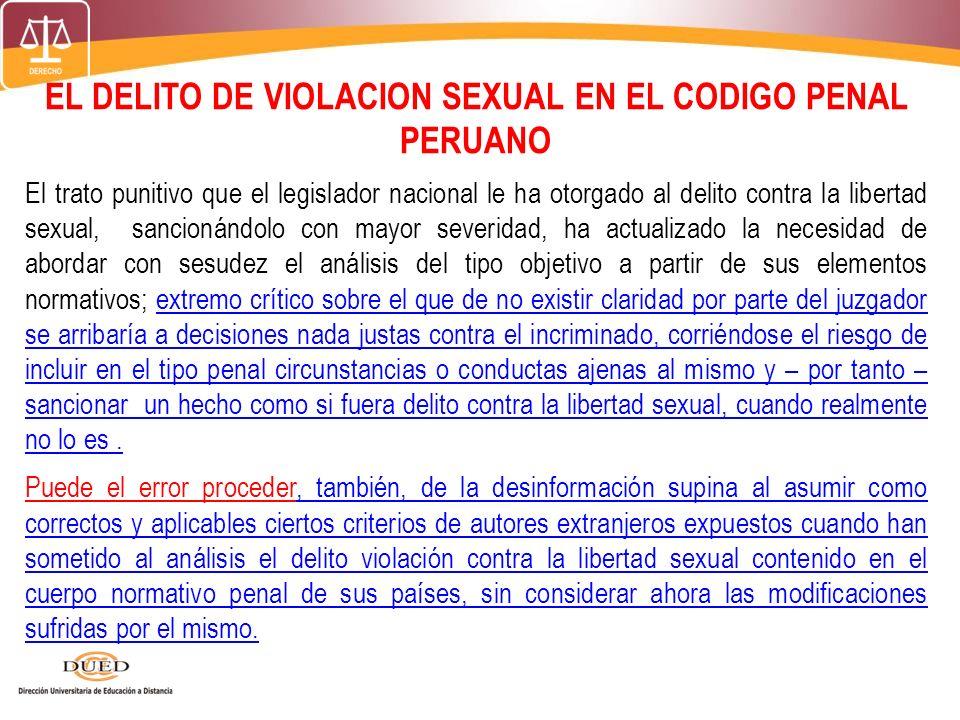 EL DELITO DE VIOLACION SEXUAL EN EL CODIGO PENAL PERUANO
