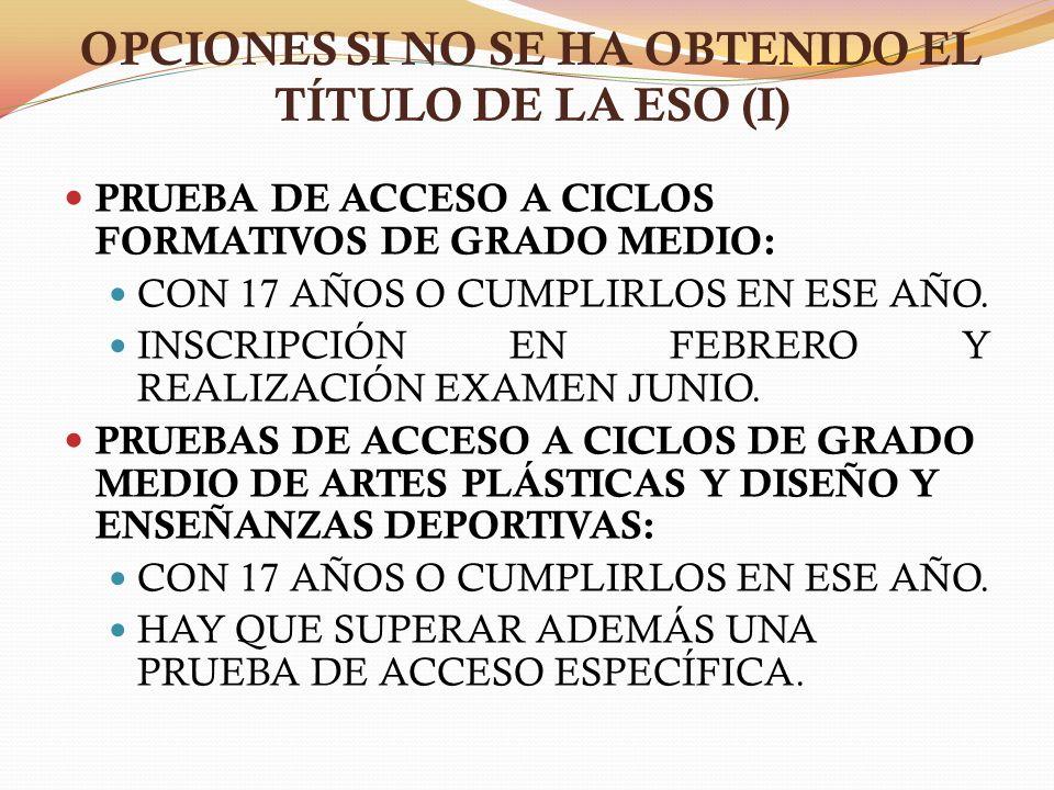 OPCIONES SI NO SE HA OBTENIDO EL TÍTULO DE LA ESO (I)