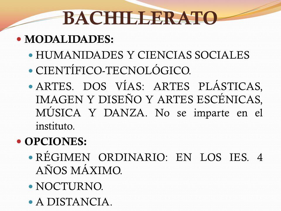 BACHILLERATO MODALIDADES: HUMANIDADES Y CIENCIAS SOCIALES