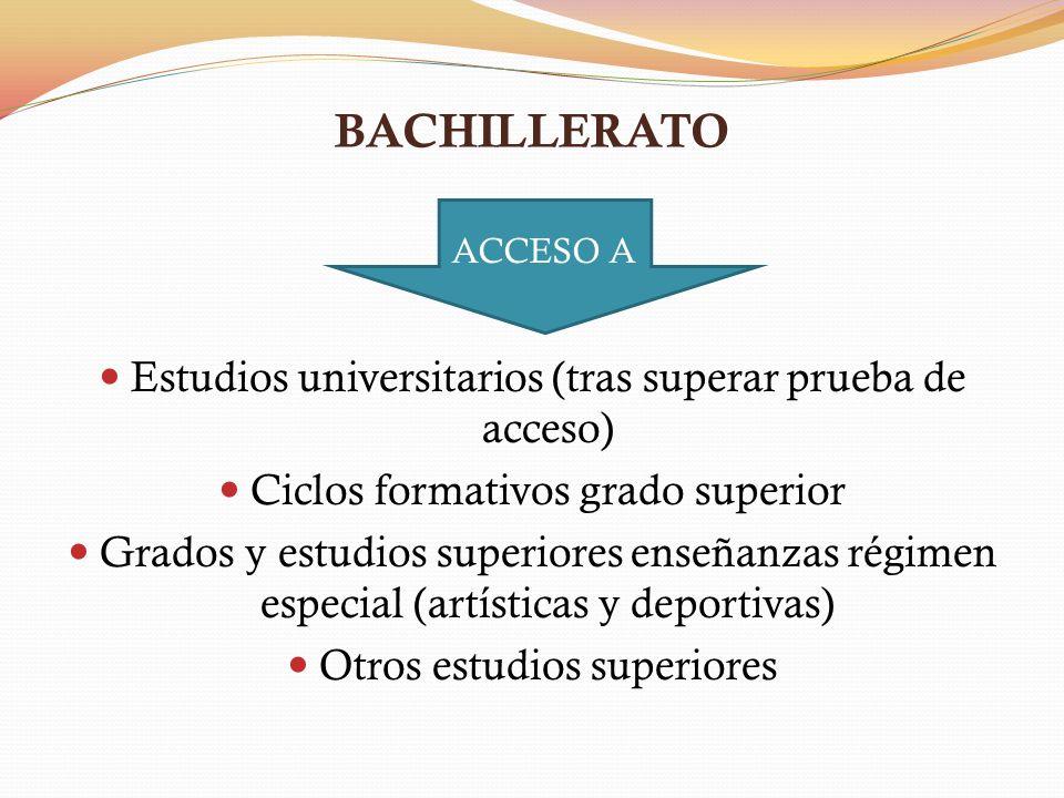 BACHILLERATO Estudios universitarios (tras superar prueba de acceso)
