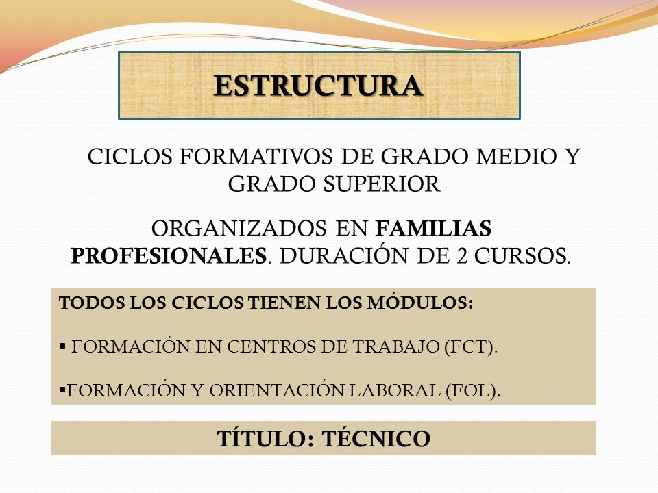 ESTRUCTURA CICLOS FORMATIVOS DE GRADO MEDIO Y GRADO SUPERIOR