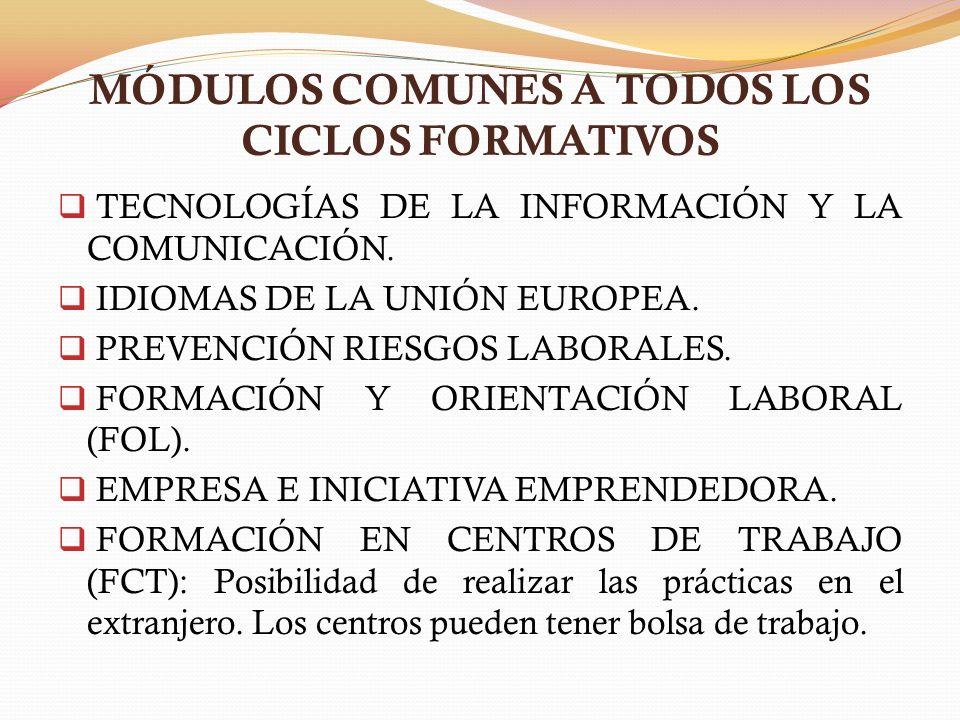 MÓDULOS COMUNES A TODOS LOS CICLOS FORMATIVOS
