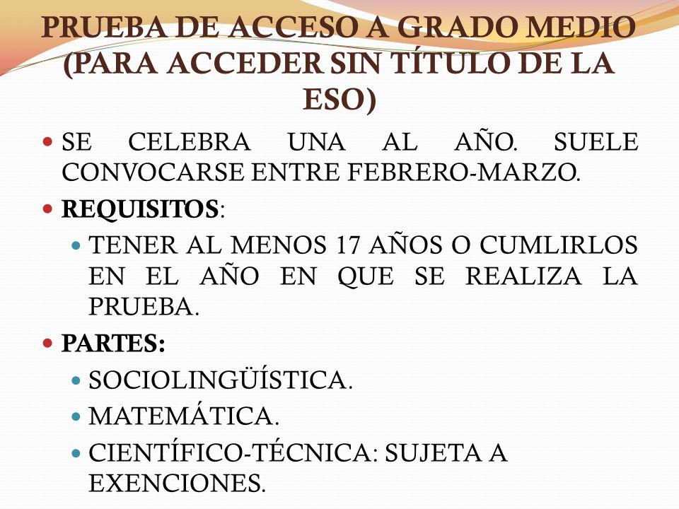 PRUEBA DE ACCESO A GRADO MEDIO (PARA ACCEDER SIN TÍTULO DE LA ESO)
