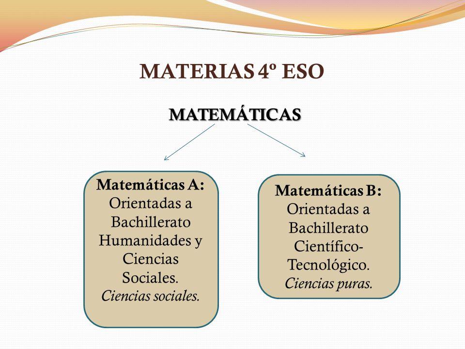 MATERIAS 4º ESO MATEMÁTICAS