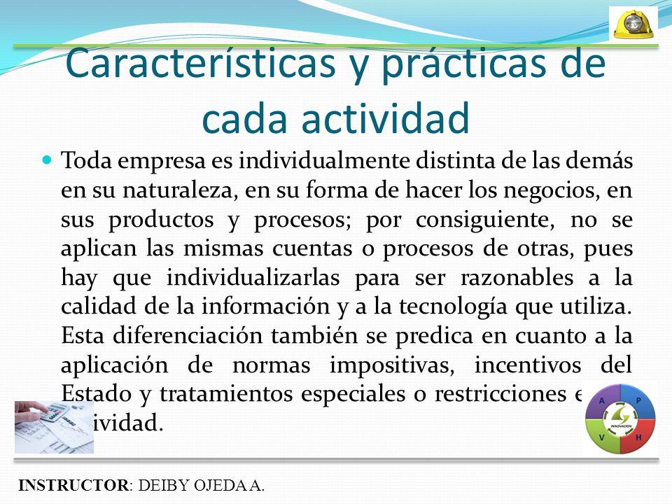 Características y prácticas de cada actividad
