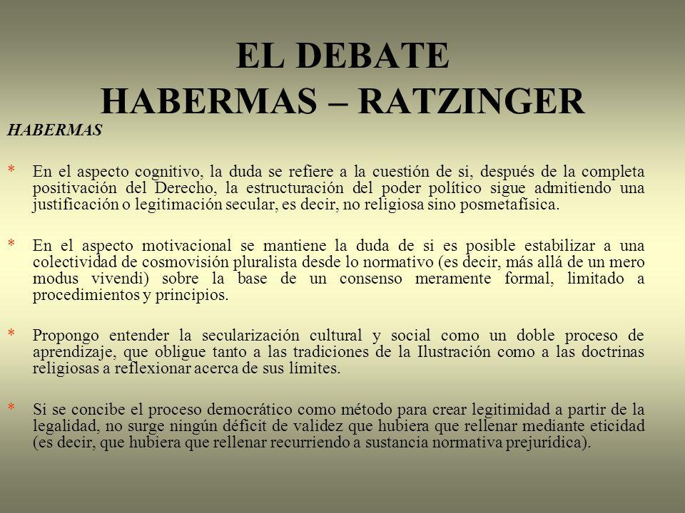 EL DEBATE HABERMAS – RATZINGER