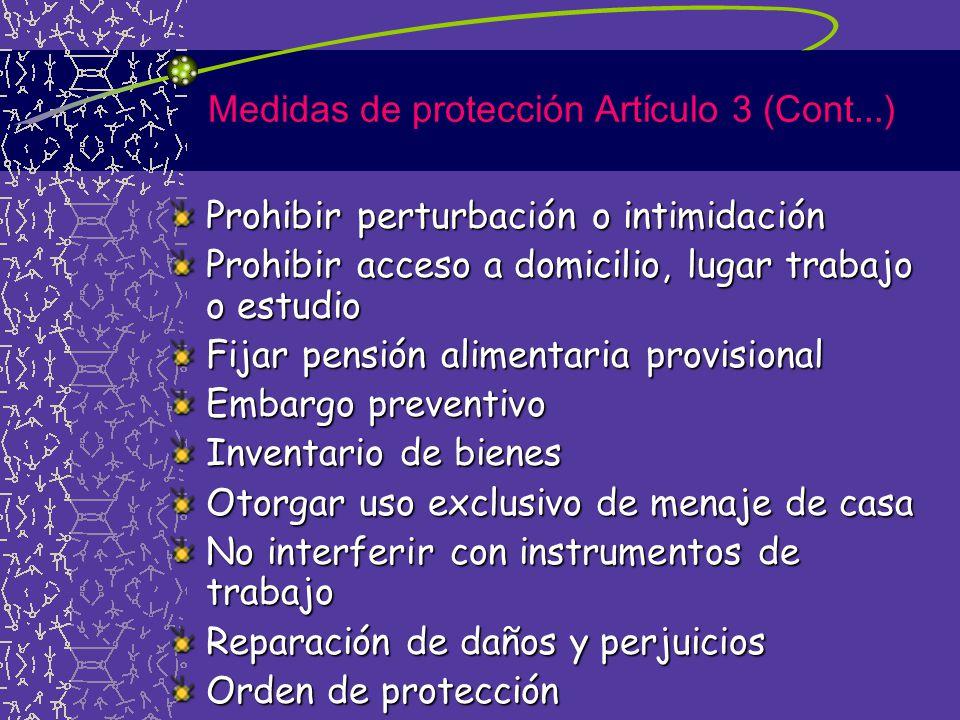 Medidas de protección Artículo 3 (Cont...)