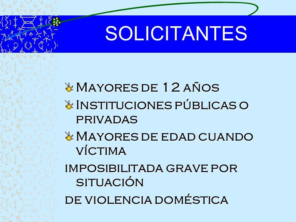 SOLICITANTES Mayores de 12 años Instituciones públicas o privadas