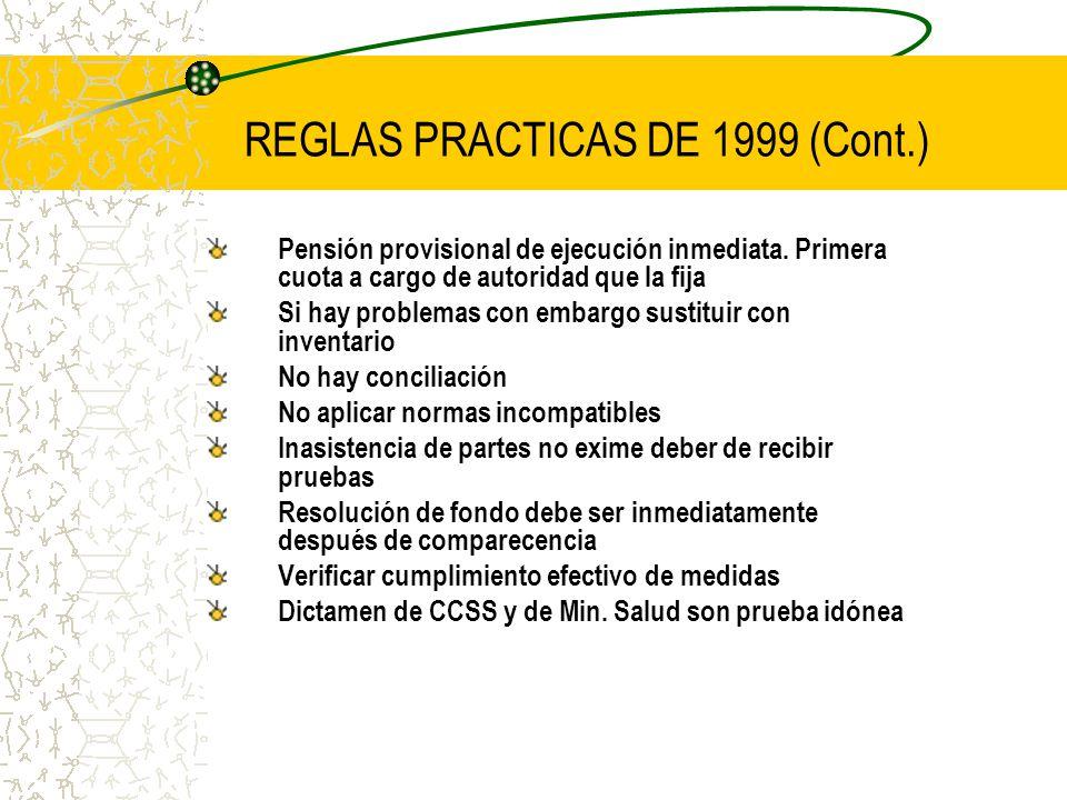 REGLAS PRACTICAS DE 1999 (Cont.)