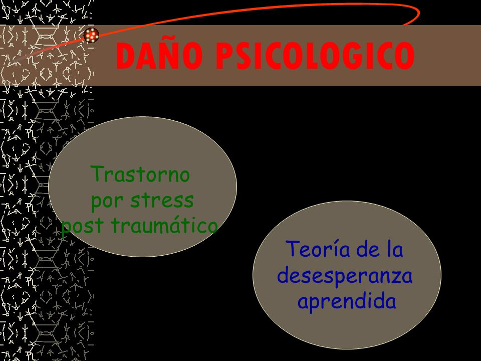DAÑO PSICOLOGICO Trastorno por stress post traumático Teoría de la