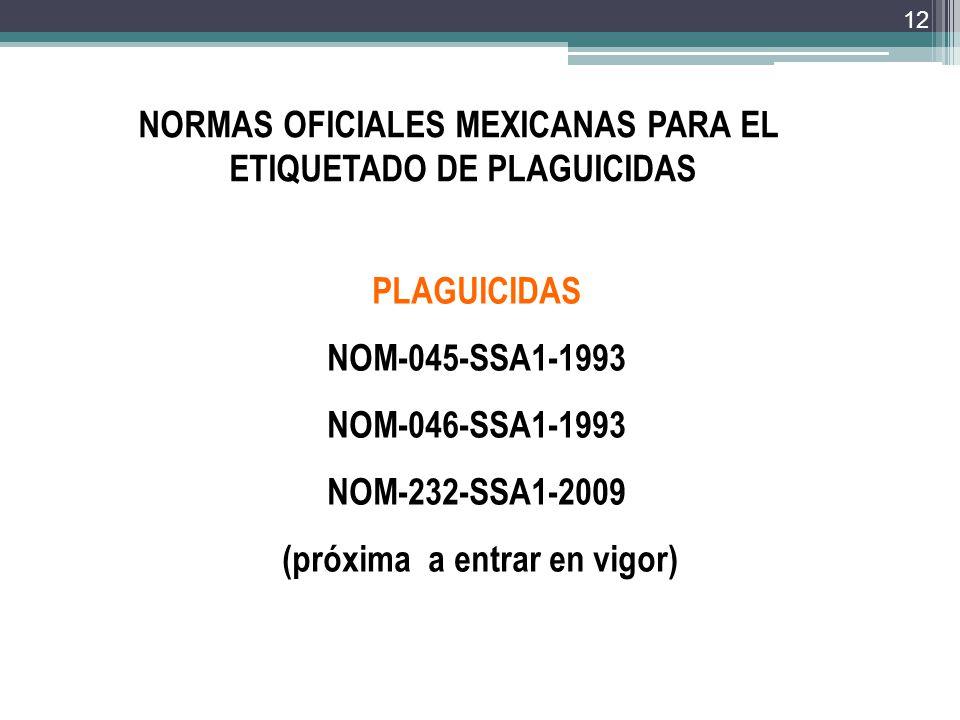 NORMAS OFICIALES MEXICANAS PARA EL ETIQUETADO DE PLAGUICIDAS