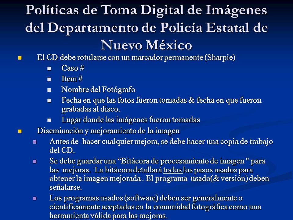 Políticas de Toma Digital de Imágenes del Departamento de Policía Estatal de Nuevo México