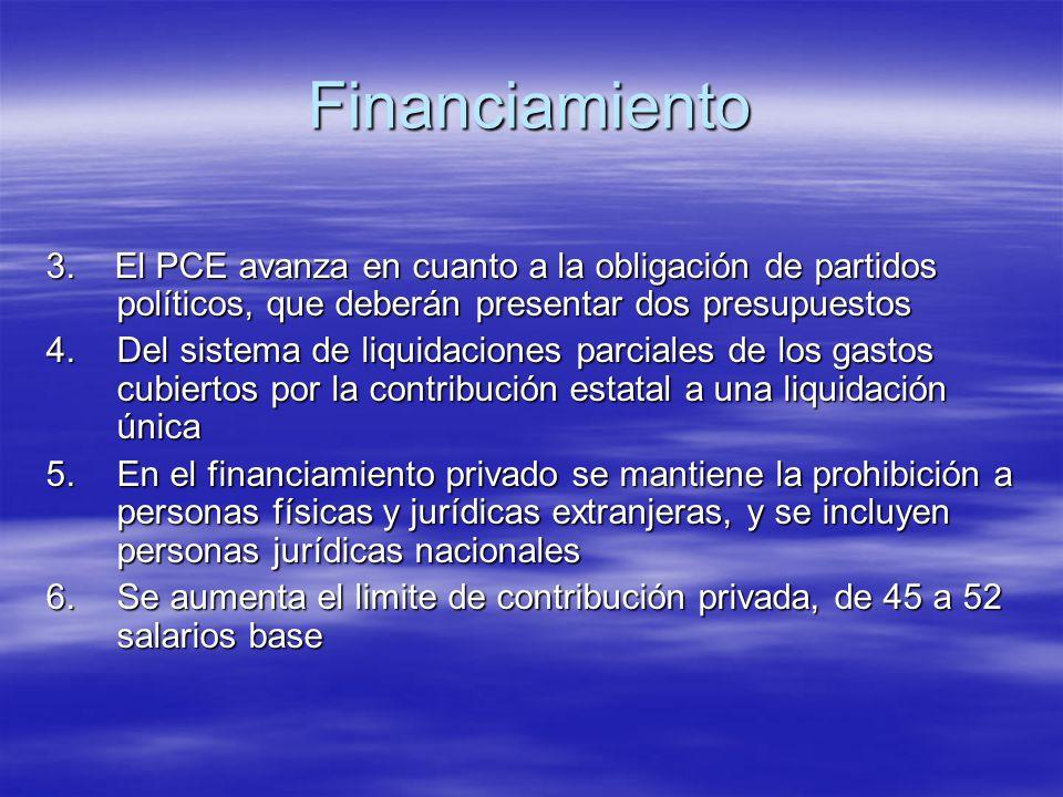 Financiamiento 3. El PCE avanza en cuanto a la obligación de partidos políticos, que deberán presentar dos presupuestos.