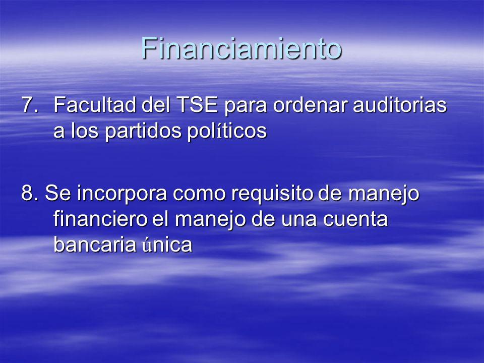 Financiamiento Facultad del TSE para ordenar auditorias a los partidos políticos.