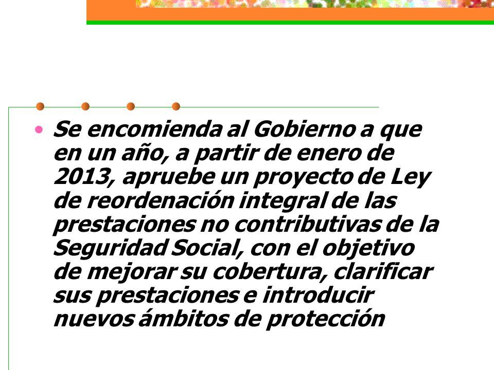 Se encomienda al Gobierno a que en un año, a partir de enero de 2013, apruebe un proyecto de Ley de reordenación integral de las prestaciones no contributivas de la Seguridad Social, con el objetivo de mejorar su cobertura, clarificar sus prestaciones e introducir nuevos ámbitos de protección