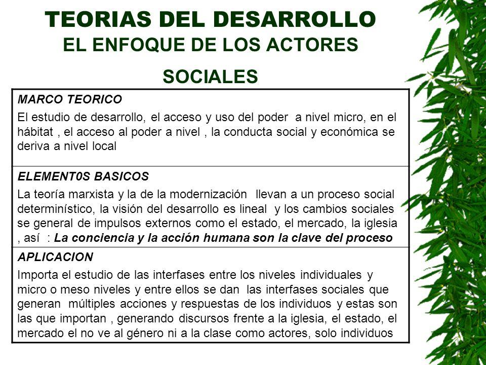 TEORIAS DEL DESARROLLO EL ENFOQUE DE LOS ACTORES SOCIALES