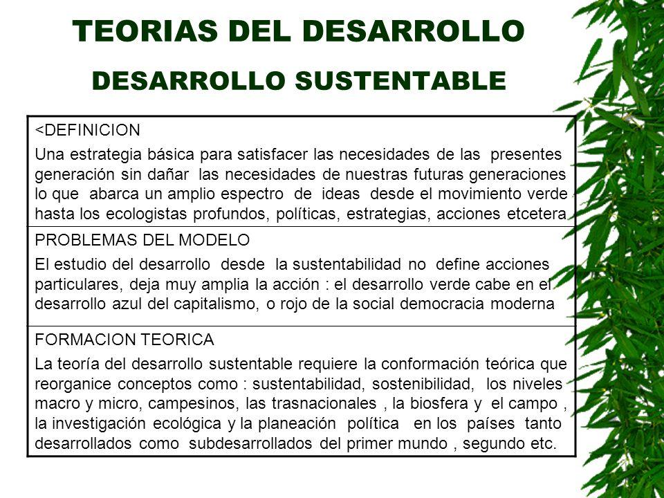 TEORIAS DEL DESARROLLO DESARROLLO SUSTENTABLE
