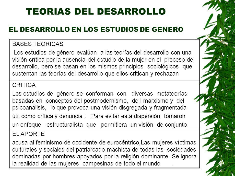 TEORIAS DEL DESARROLLO EL DESARROLLO EN LOS ESTUDIOS DE GENERO