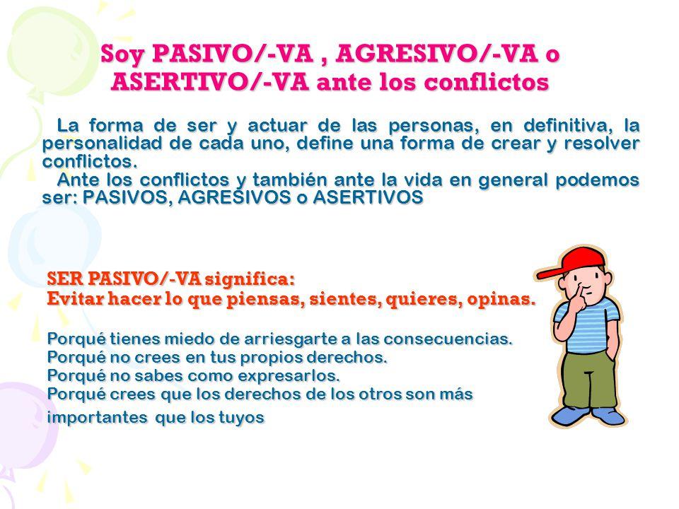 Soy PASIVO/-VA , AGRESIVO/-VA o ASERTIVO/-VA ante los conflictos